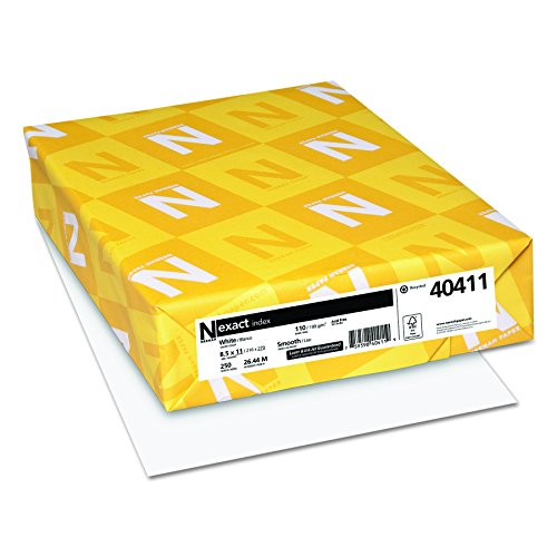 Wausau Paper Index Card Stock, 92 Brightness, 110 lb, Letter, White, 250 Sheets per Pack 49411