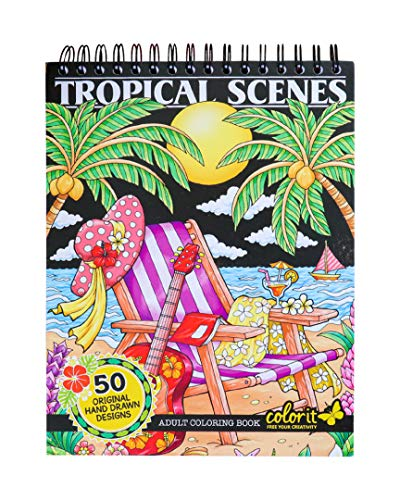 50 Single-Sided Designs, Thick Smooth Paper, Lay Flat Hardback Covers, Spiral Bound, USA Printed, Tropical Pages to Color – ColorIt Colorful Tropical Scenes Adult Coloring Book