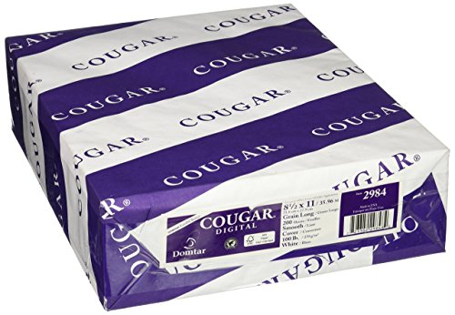 Cougar/Domtar Opaque White Smooth 100# Cover 8.5″x11″ 200 Sheet Per Pack