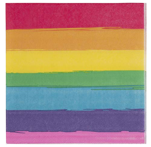 Cocktail Napkins – 150-Pack Luncheon Napkins, Disposable Paper Napkins Gay Pride Parade Party Supplies, 2-Ply, Rainbow, Unfolded 13 x 13 Inches, Folded 6.5 x 6.5 Inches