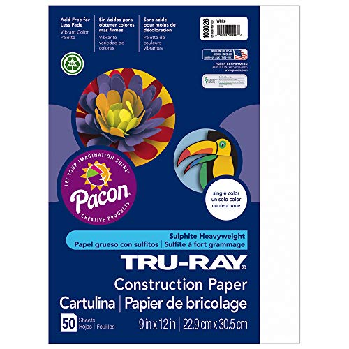 Tru-Ray Heavyweight Construction Paper, White,  9″ x 12″, 50 Sheets