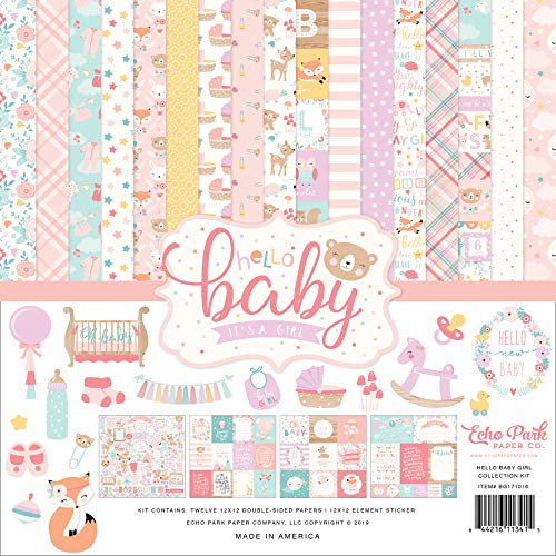 Echo Park Paper Company Hello Baby Girl Collection Kit Paper Pink, Teal, Yellow, Purple, Orange