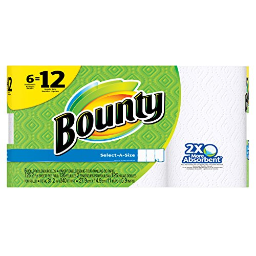 Bounty Select-a-Size Paper Towels, White, 6 Double Rolls