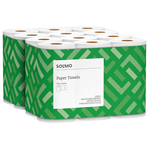 Solimo Basic Flex-Sheets Paper Towels, 12 Value Rolls, White, 148 Sheets per Roll New Version