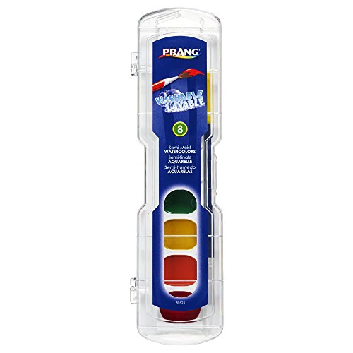 Prang Washable Watercolor Paint Set, 8 Classic Colors with Brush, 1-Pack 80525