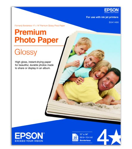 Epson Premium Photo Paper GLOSSY 11×14 Inches, 20 Sheets S041466