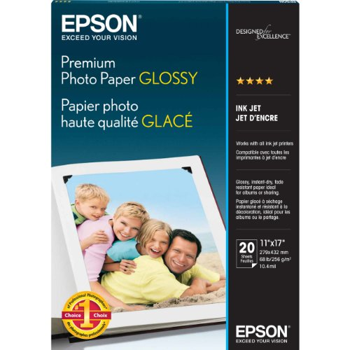 Epson Premium Photo Paper GLOSSY 11×17 Inches, 20 Sheets S041290