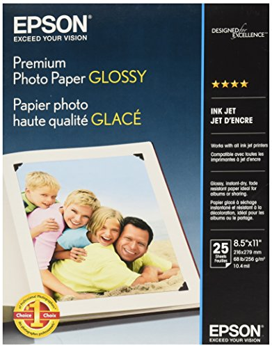 Epson Premium Photo Paper GLOSSY 8.5×11 Inches, 25 Sheets S042183