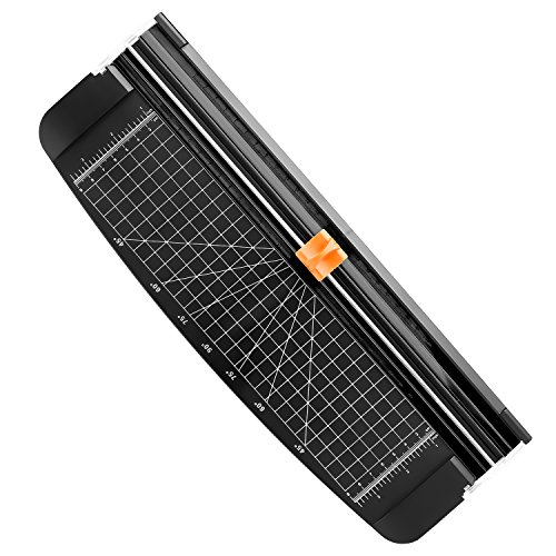 Firbon A4 Paper Cutter Portable Guillotine Paper Trimmer Scrapbooking Tool with Automatic Security Safeguard for Craft Paper, Coupon, Label and Cardstock Black