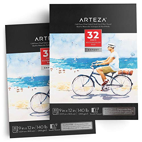 ARTEZA 9×12″ Expert Watercolor Pad, Pack of 2, 64 Sheets 140lb/300gsm, Cold Pressed, Acid Free Paper, 32 Sheets Each, Ideal for Watercolor Techniques and Mixed Media