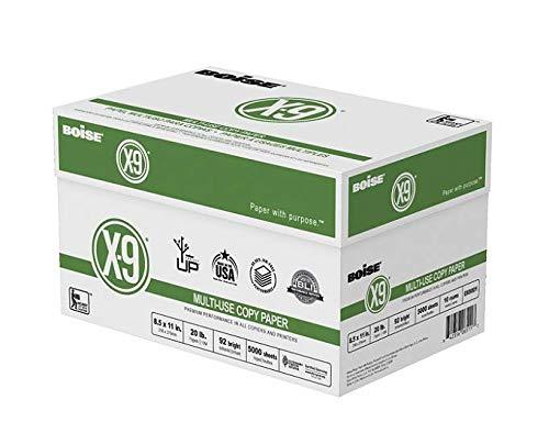 BoiseR X-9R Paper, 8 1/2in. x 11in, 20 Lb, Bright White, 500 Sheets Per Ream, Case of 10 Reams 2 CASES