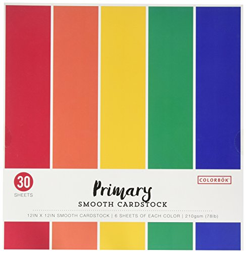 Colorbok 68207B Smooth Cardstock Paper Pad, 12″ x 12″, Primary