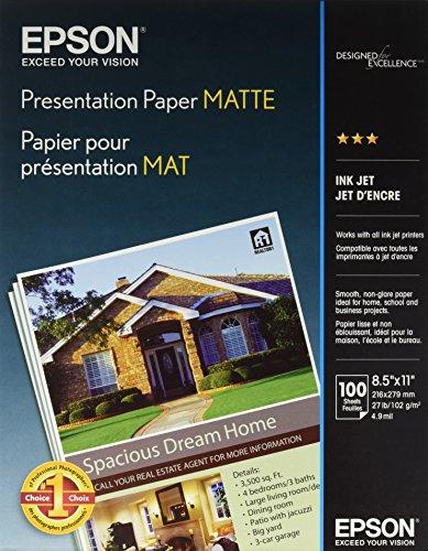 Epson Presentation Paper Matte, 8.5 x 11 Inch, 100 Count S041062