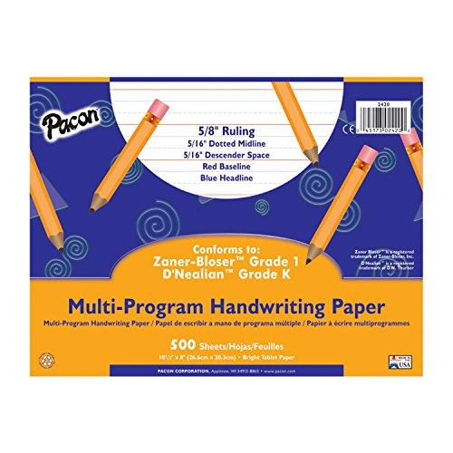 Pacon Multi-Program Handwriting Paper, 10 1/2″ X 8″, D'Nealian Grade K, Zaner-Bloser Grade 1, 500 Sheets