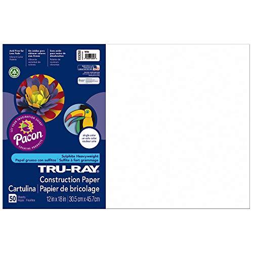 Tru-Ray Heavyweight Construction Paper, White,  12″ x 18″, 50 Sheets