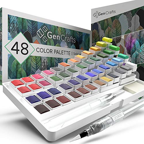 Watercolor Palette with Bonus Paper Pad by GenCrafts – Includes 48 Premium Colors – 2 Refillable Water Blending Brush Pens – 15 Sheets of Water Color Paper – No Mess Storage Case – Portable Painting