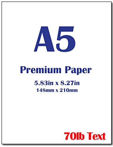Premium A5 8.3″x 5.83″ Printer Paper – 70lb Text 105 gsm Bright White Paper 100 Sheets