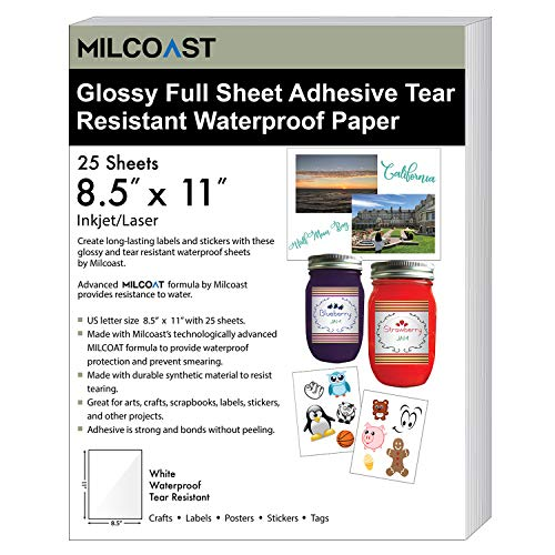 for Stickers, Labels, Scrapbooks, Bottles, Arts, Crafts 25 Sheets – for Inkjet/Laser Printers – Milcoast Glossy White Full Sheet 8.5″ x 11″ Adhesive Tear Resistant Waterproof Photo Craft Paper