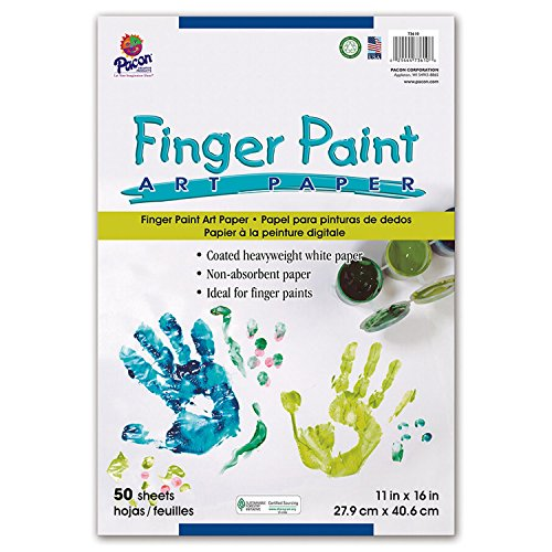 Pacon PAC73610 Finger Paint Paper, 11″ x 16″, White, 50 Sheets