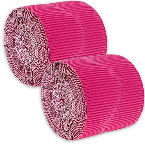 Juvale 2-Rolls Hot Pink Bulletin Board Scalloped Border Decoration for Classroom, 2 Inches x 50 Feet