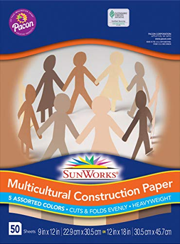 SunWorks 9512 Multicultural Construction Paper, 12″ x 18″, 5 Assorted Colors, 50 Sheets