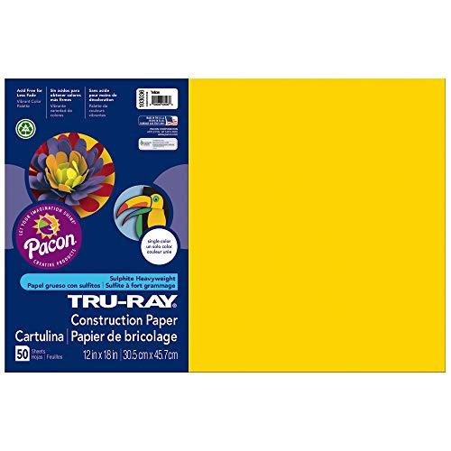 Tru-Ray Heavyweight Construction Paper, Yellow,  12″ x 18″, 50 Sheets