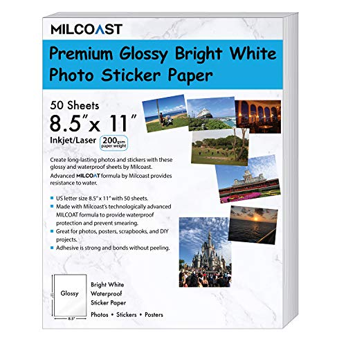 200 GSM Weight, Inkjet/Laser Printer Compatible – 50 Sheets – Milcoast Glossy Full Sheet 8.5″ x 11″ Waterproof Adhesive Bright White Photo Paper
