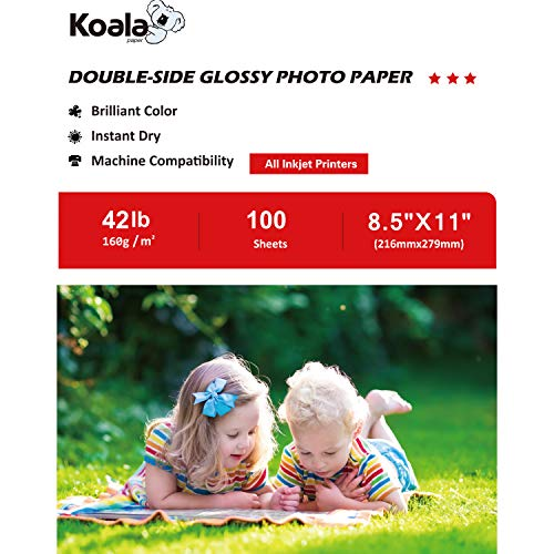 Koala Double Side Glossy Photo Paper 8.5×11 Inches 100 Sheets Compatible with Inkjet Printer 160gsm