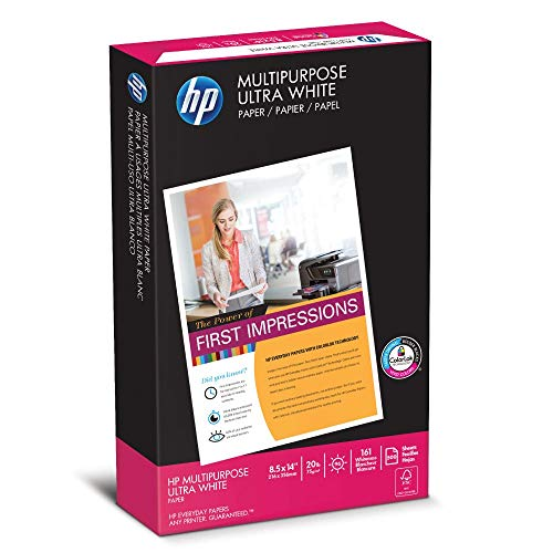 HP Printer Paper, Multipurpose20, 8.5 x 14 Paper, Legal Size, 20lb Paper, 96 Bright, 500 Sheets / 1 Ream 001420 Acid Free Paper Renewed