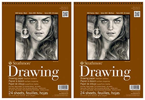 2-Pack – Strathmore 400 Series Drawing Pad, 9″x12″ Wire Bound, 24 Sheets Each