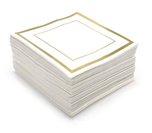 GLAM Cocktail Napkins, Gold Trim – 100 Pack | 5-Inches by 5-Inches Wedding Napkins, Paper | 5×5 Gold Napkins, Disposable | Party Napkins, White and Gold | Beverage Napkins, Gold Rim