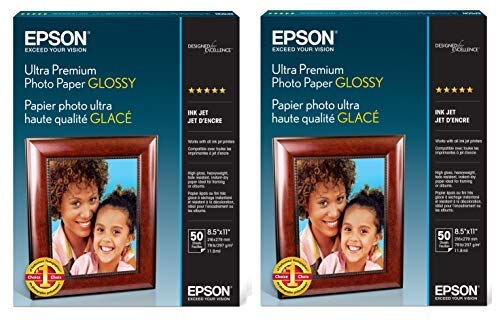 2 X Epson Ultra Premium Photo Paper Glossy S042175 2 Pack, 100 Sheets, 8.5×11 inches