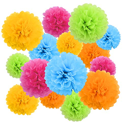 Livder Paper Flowers Bright Colorful Tissue Paper Pom Poms for Party Birthday Wedding Christmas Festive Decorations, 15 Pieces of 10, 12, 14 Inch