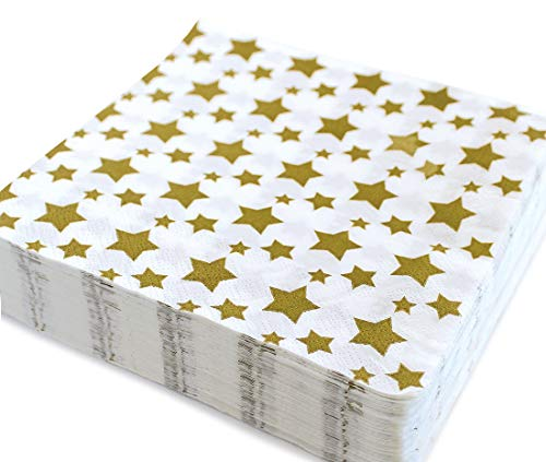 Gold Star Luncheon Napkins Decorative Print 6.5 Inch Party Napkin Paper Disposable Folded Square for Lunch Dinner Buffet, Wedding, Birthday Parties, Summer Picnic 40 Count