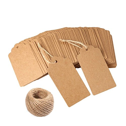 BeGrit Personalized Kraft Paper Tag Gift Tags DIY Craft Price Tags 100 PCS Brown for Wedding Party Favors Baby Shower Birthday Christmas with Bonus 33 Feet Natural Jute Twine