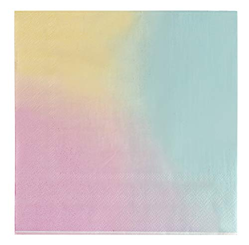 Cocktail Napkins – 150-Pack Luncheon Napkins, Disposable Paper Napkins Ombre Party Supplies for Kids Birthdays, Bridal Showers, 2-Ply, Unfolded 13 x 13 Inches, Folded 6.5 x 6.5 Inches
