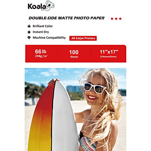 Koala Photo Paper 11×17 Inches Heavyweight Double Side Matte 100 Sheets 250gsm Compatible with All Inkjet Printer
