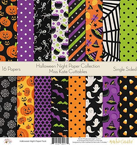Halloween Night – Pattern Paper Pack – by Miss Kate Cuttables – Scrapbook Premium SpecialtyPaper Single-Sided 12″x12″ Collection Includes 16 Sheets