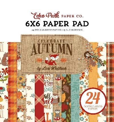 Echo Park Paper Company CAU158023 Celebrate Autumn 6×6 Pad Paper, 6-x-6″, Orange, Yellow, Blue, Brown, Tan
