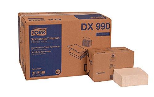 Tork DX990 Advanced Plus Xpressnap Dispenser Napkin, Interfold, 2-Ply, 8.5″ Length x 6.5″ Width, White Case of 12 Packs, 400 per Pack, 4,800 Napkins