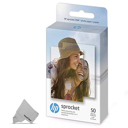 50 HP Sprocket Photo Paper Sheets, Exclusively for HP Sprocket Portable Photo Printer, 2×3-inch, Sticky-Backed Sheets + HeroFiber Ultra Gentle Cleaning Cloth