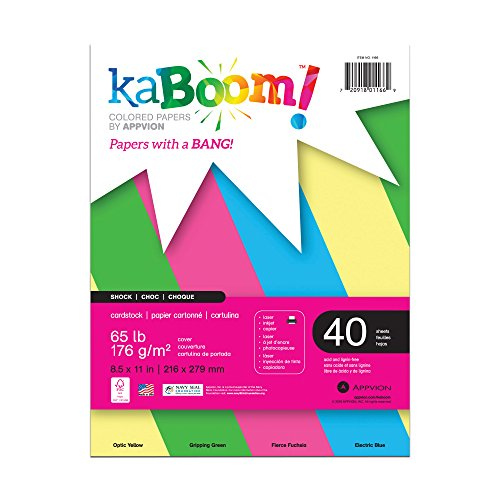 Kaboom Shock Assorted Neon Colored Card Stock, 8.5″ x 11″, 100 sheets