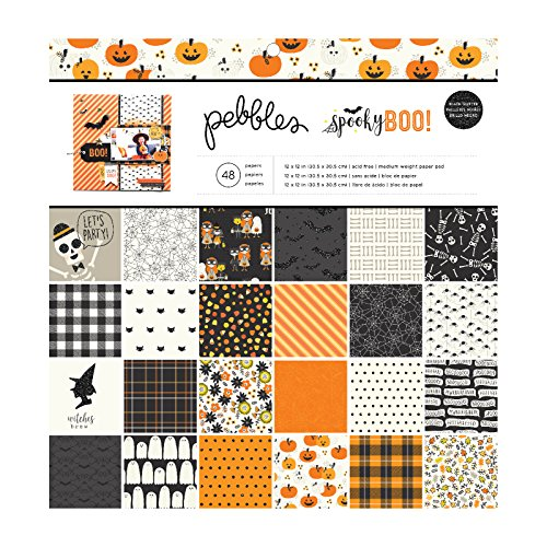 Pebbles 733914 12″ x 12″ Spooky Boo Paper Pad, Multicolor