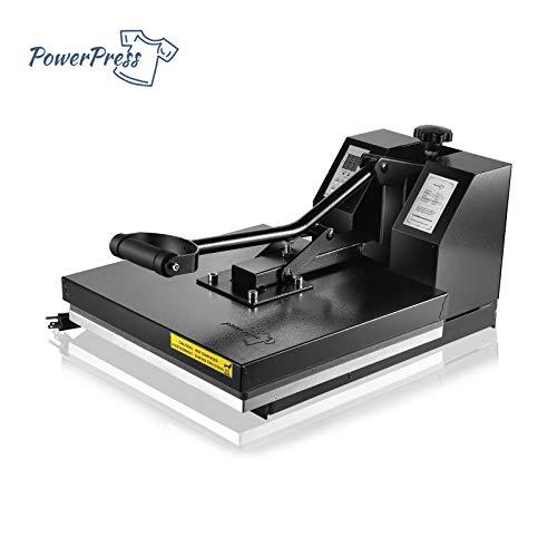 PowerPress Industrial-Quality Digital Sublimation Heat Press Machine for T Shirt, 15×15 Inch, Black