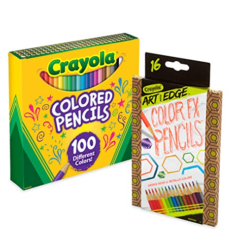Crayola 100Count Colored Pencils with 16Count Color Fx Metallic & Neon, Amazon Exclusive, Great For Coloring Books, Gift Amazon Exclusive