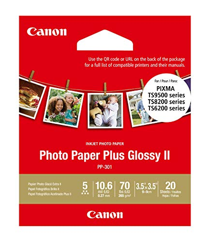CanonInk PP-301-3.5″ x 3.5″ Square Photo Paper Plus Glossy II 1432C053