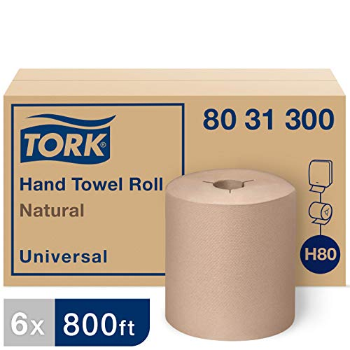 Tork 8031300 Universal Paper Hand Towel Roll, Y-Notch, 1-Ply, 8.0″ Width x 800′ Length, Natural Case of 6 Rolls, 800 Feet per Roll, 4,800 Feet per Case