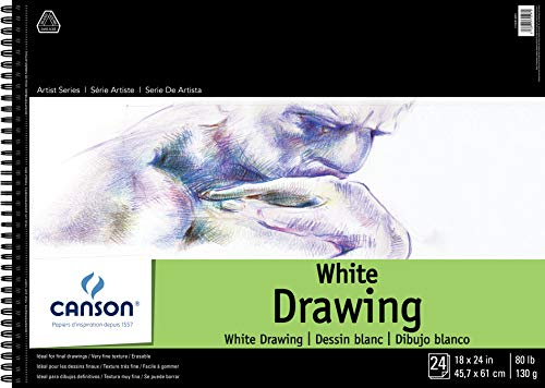 Canson Artist Series 1557 Pure White Drawing Paper Pad, Fine Texture, Top Wire Bound, 80 Pound, 18 x 24 Inch, Bright White, 24 Sheets