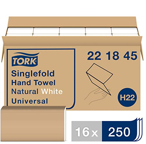 Tork 221845 Universal Singlefold Hand Towel, 1-Ply, 9.125″ Width x 10.25″ Length, Natural White Case of 16 Packs, 250 Towels per Pack, 4,000 Towels per Case