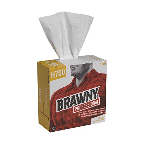 Brawny Professional Heavyweight Disposable Shop Towels by GP PRO Georgia-Pacific, White, 29322, 176 Towels Per Box, 10 Boxes Per Case 1760 Total
